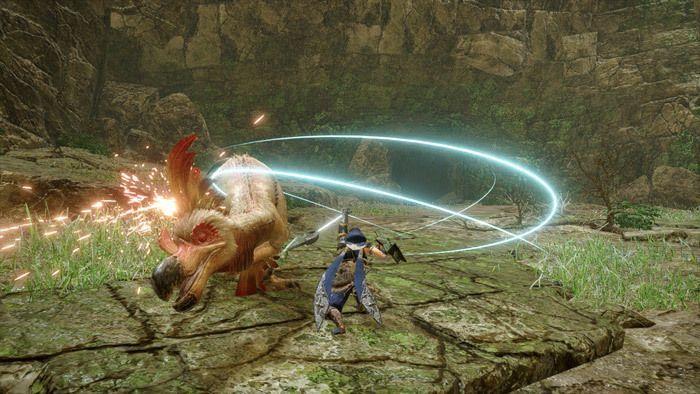 Monster Hunter Rise - Sword and Shield Hunter Silkbind Attack Windmill