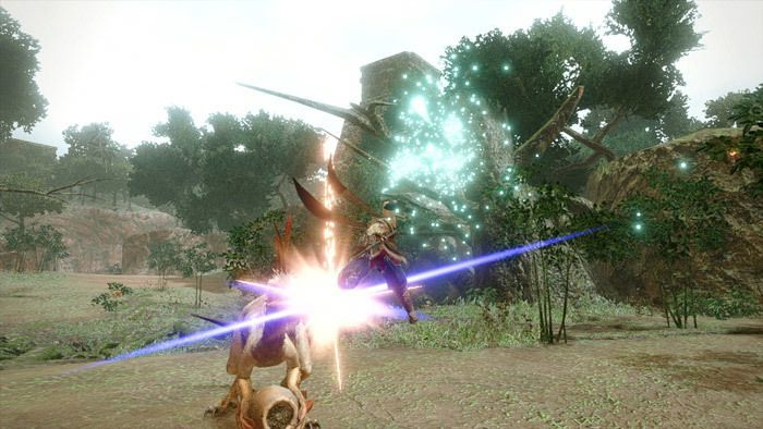 Monster Hunter Rise - Sword and Shield Hunter Silkbind Attack Falling Shadow