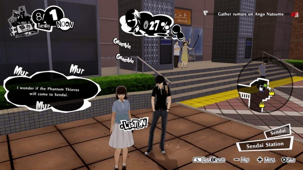 Persona 5 Strikers - Sendai Intel Rumor Gathering Location Entranced Woman