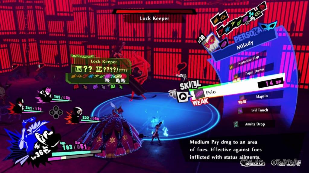Persona 5 Strikers - Sapporo Jail Lock Keeper Shield Use Psy Attacks