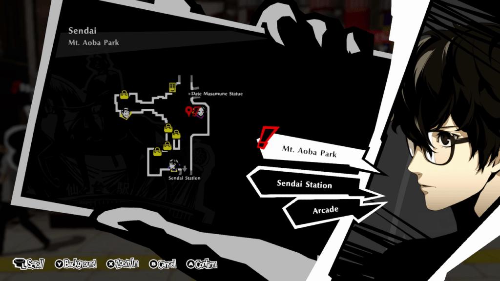 Persona 5 Strikers - Lending a Paw Request Sendai Mt. Aoba Park Map Location