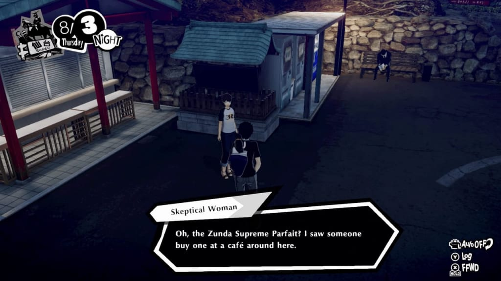 Persona 5 Strikers - Lending a Paw Request Mt. Aoba Park Skeptical Woman Location