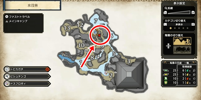 Monster Hunter Rise - Flooded Forest Sub Camp Locations