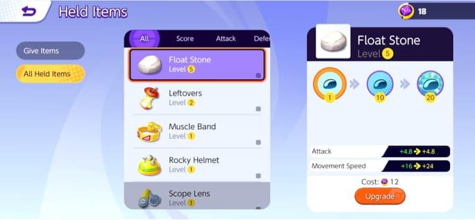 Pokemon UNITE - Held Items