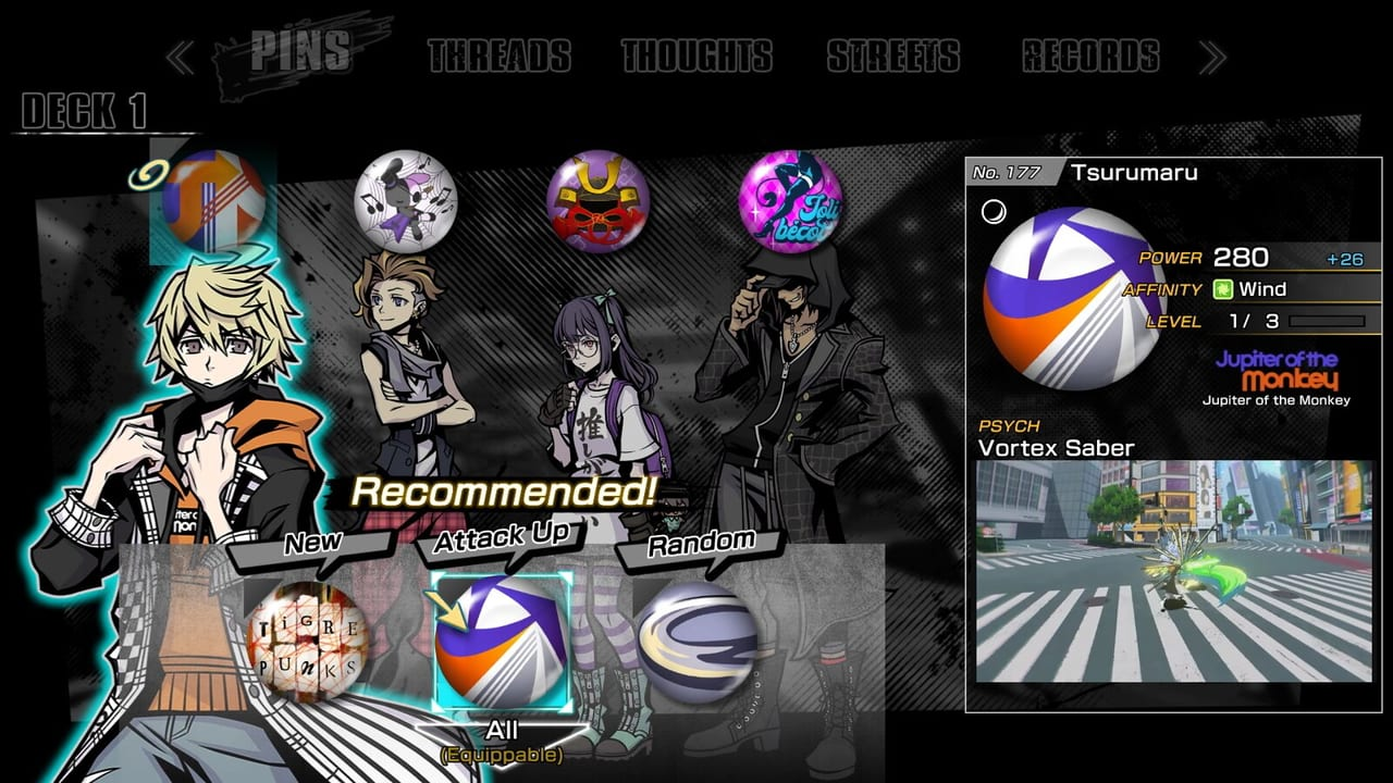 NEO: The World Ends with You - Game Overview Pins Equip