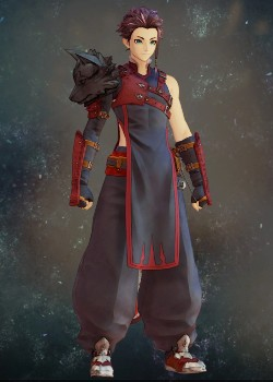 Tales of Arise - Law Red-Black Wolf Vest Costume Outfit