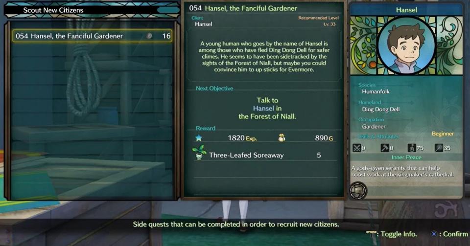 Ni no Kuni 2: Revenant Kingdom - Side Quest 054: Hansel, the Fanciful Gardener