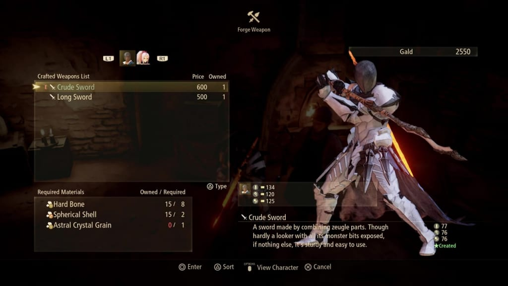 Tales of Arise - Crafting Weapon Options