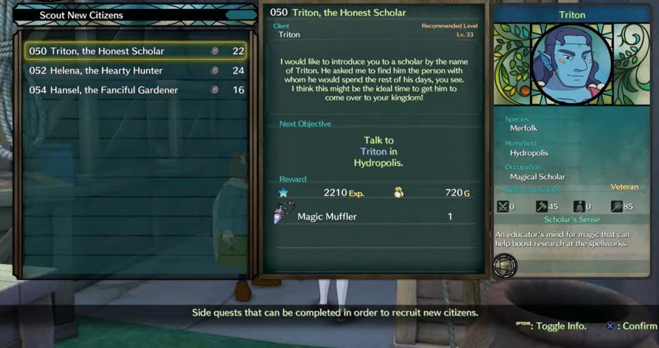 Ni no Kuni 2: Revenant Kingdom - Side Quest 050: Triton, the Honest Scholar
