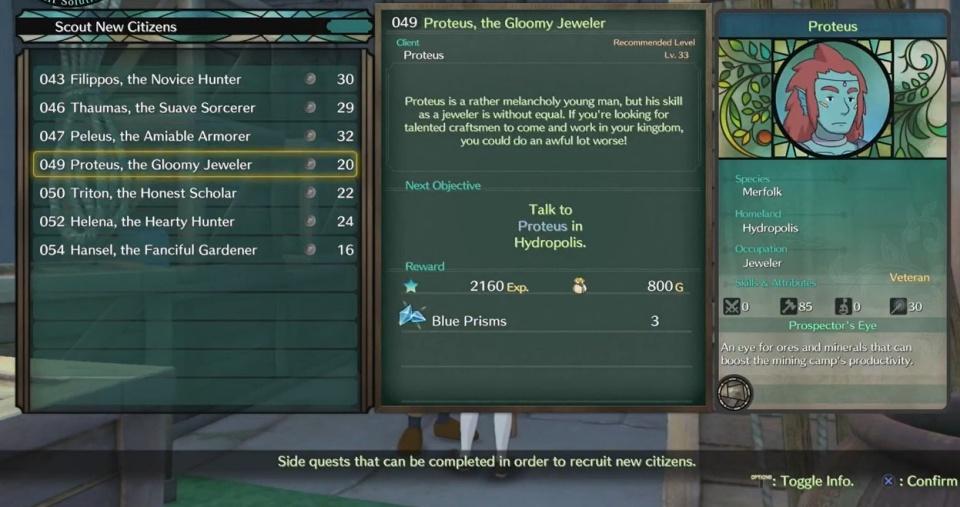 Ni no Kuni 2: Revenant Kingdom - Side Quest 049: Proteus, the Gloomy Jeweler