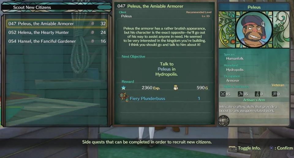 Ni no Kuni 2: Revenant Kingdom - Side Quest 047: Peleus, the Amiable Armorer