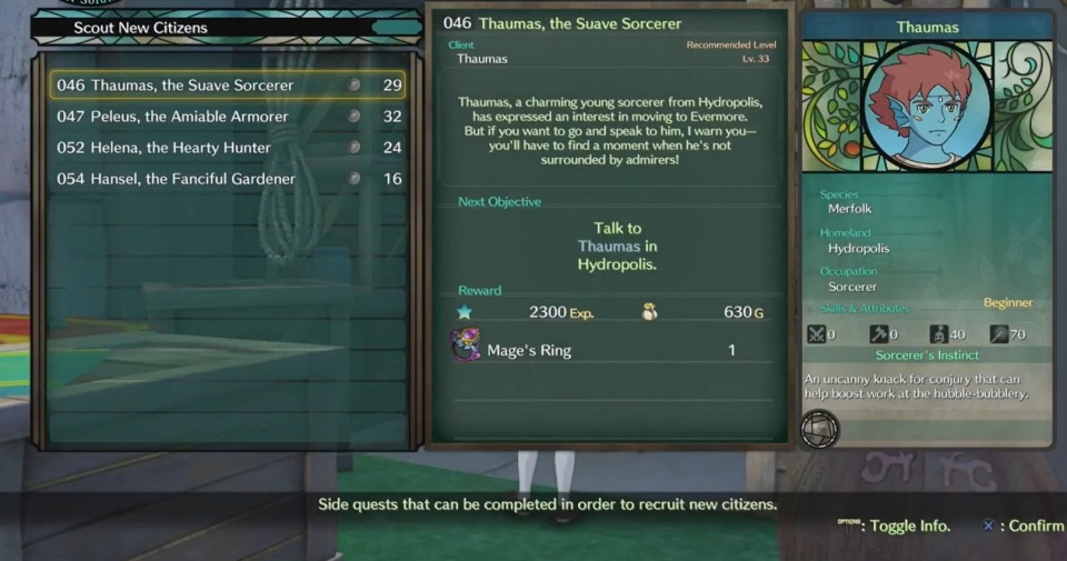 Ni no Kuni 2: Revenant Kingdom - Side Quest 046: Thaumas, the Suave Sorcerer