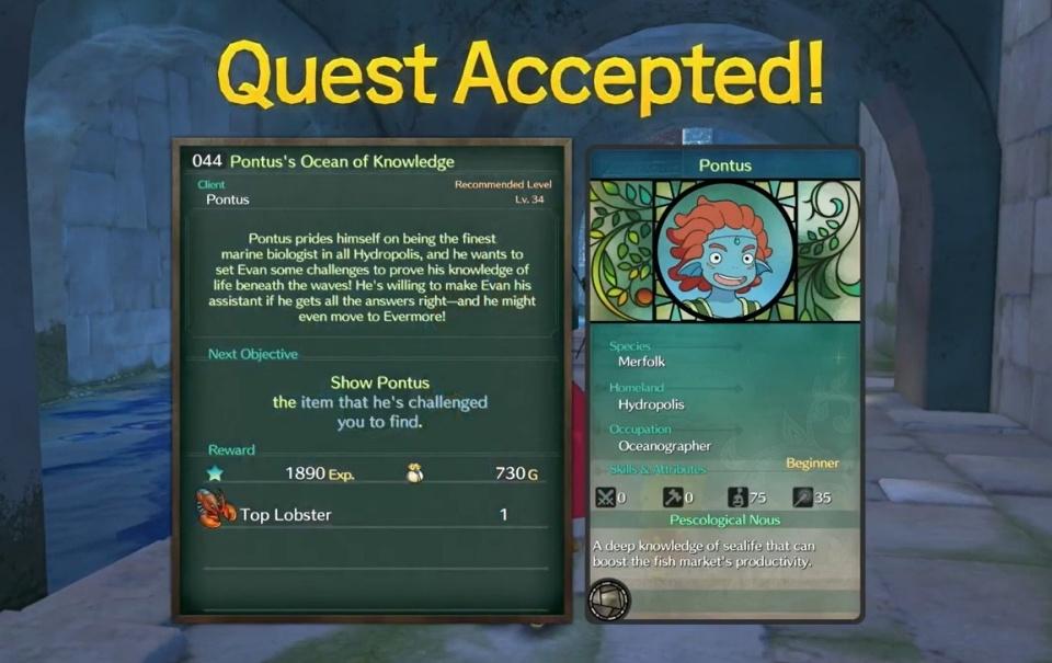 Ni no Kuni 2: Revenant Kingdom - Side Quest 044: Pontus' Ocean of Knowledge