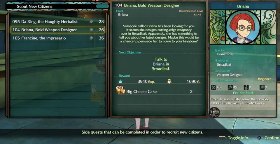Ni no Kuni 2: Revenant Kingdom - Side Quest 104: Briana, the Bold Weapon Designer