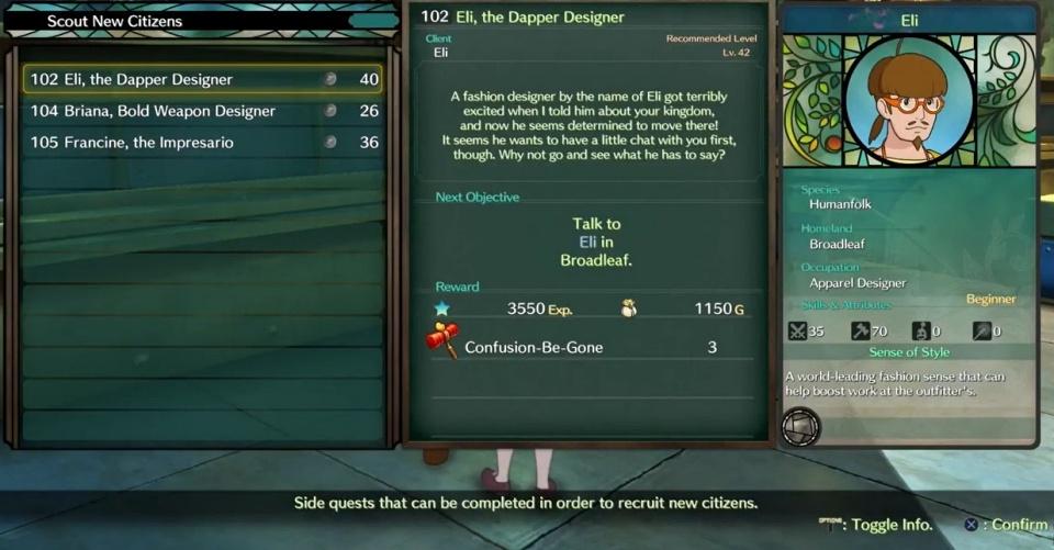 Ni no Kuni 2: Revenant Kingdom - Side Quest 102: Eli, the Dapper Designer