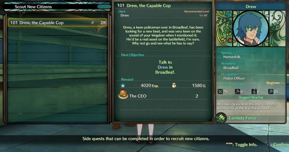 Ni no Kuni 2: Revenant Kingdom - Side Quest 101: Drew, the Capable Cop