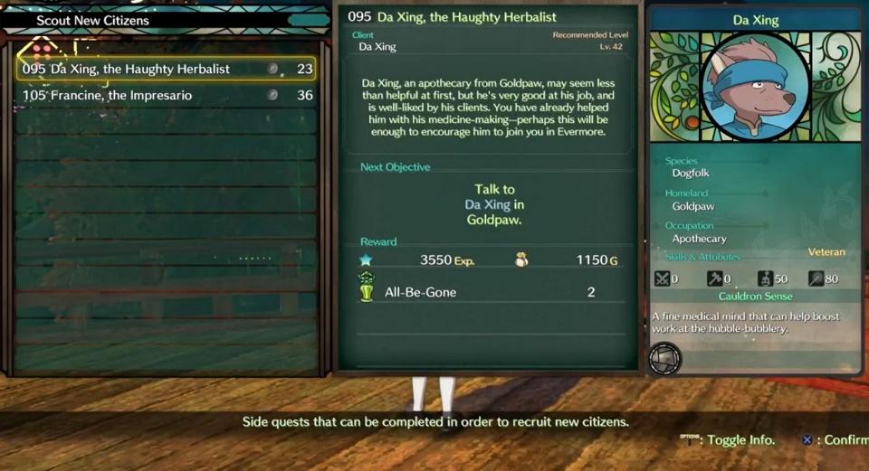 Ni no Kuni 2: Revenant Kingdom - Side Quest 095: Da Xing, the Haughty Herbalist