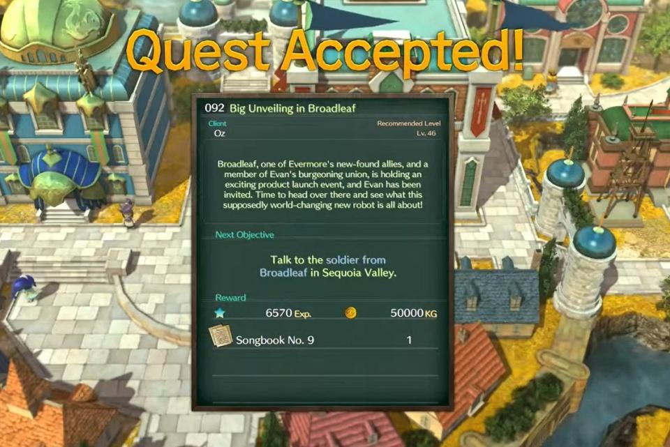 Ni no Kuni 2: Revenant Kingdom - Side Quest 092: Big Unveiling in Broadleaf