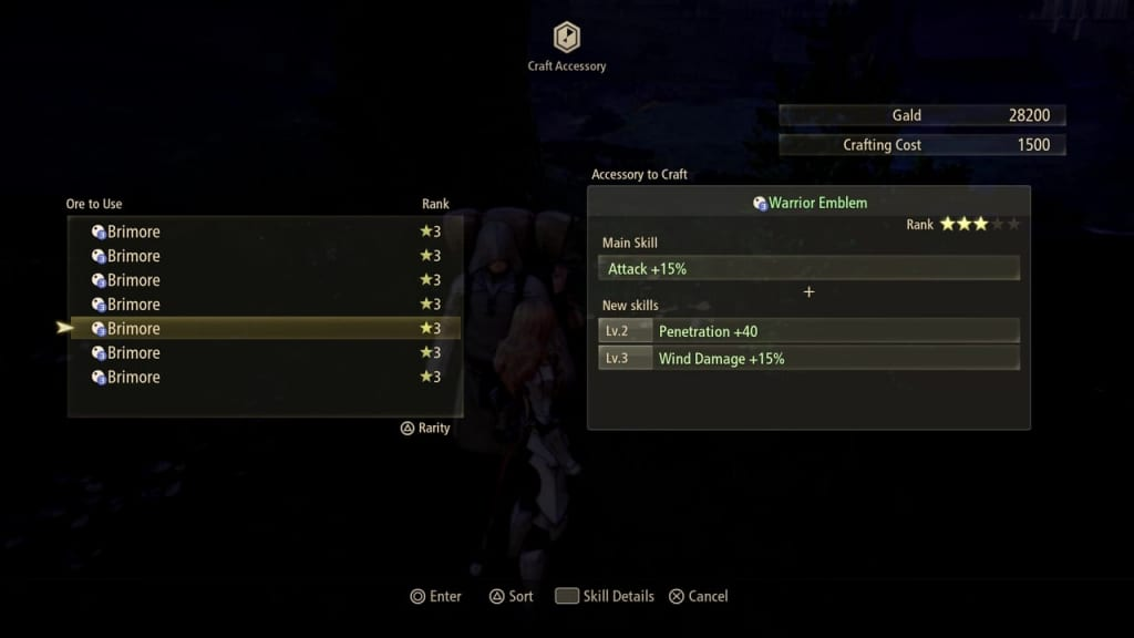 Tales of Arise - Crafting Accessories Selecting Ore
