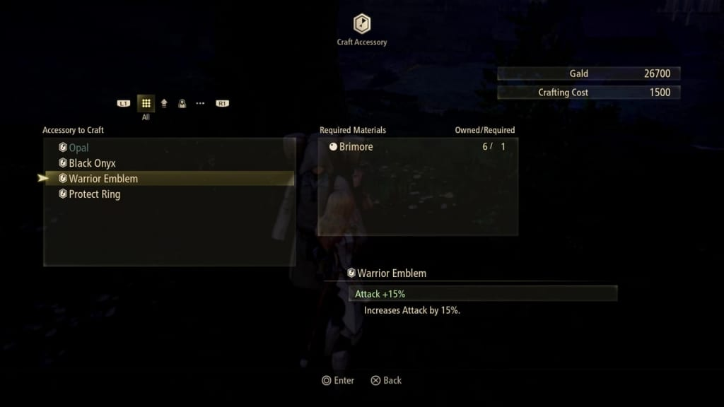 Tales of Arise - Crafting Accessories Options